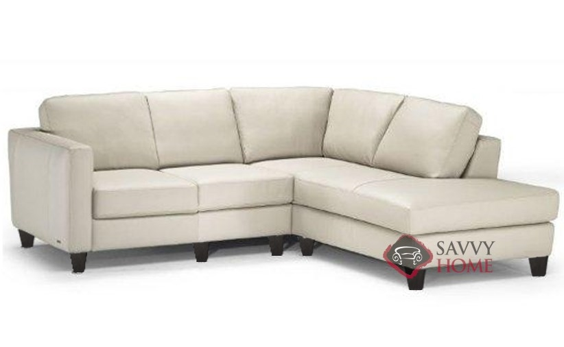 B683 Compact Chaise Sectional by Natuzzi shown in Belfast White