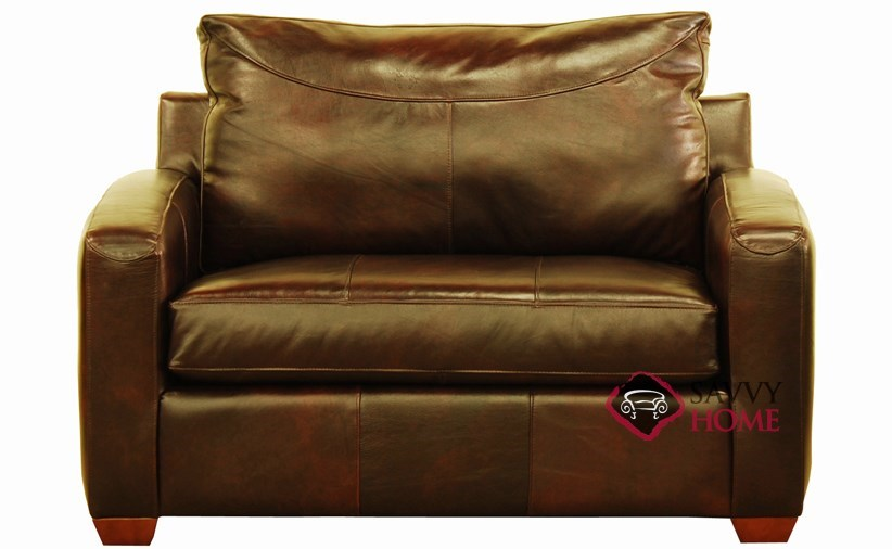 Boulder Chair Leather Sleeper Sofa shown in Chesterfield Whiskey