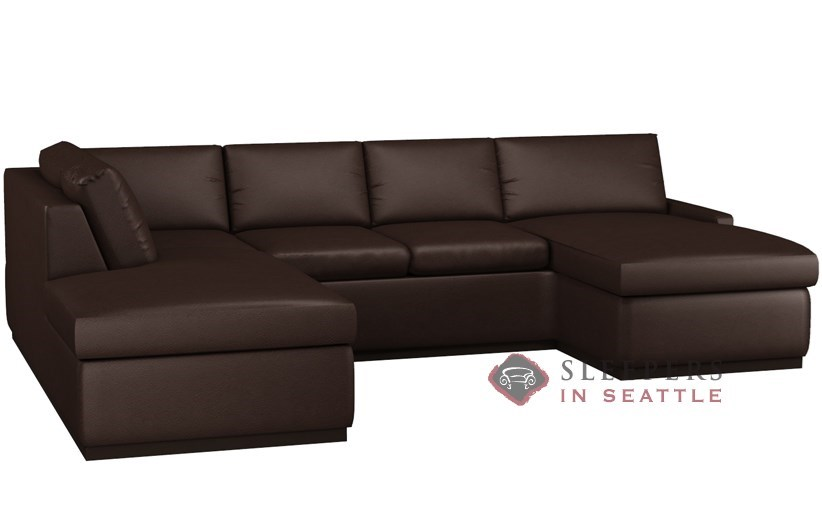 Terra Leather U Shape Sectional With 2 Cushion Condo Queen Sleeper By Lazar  Industries