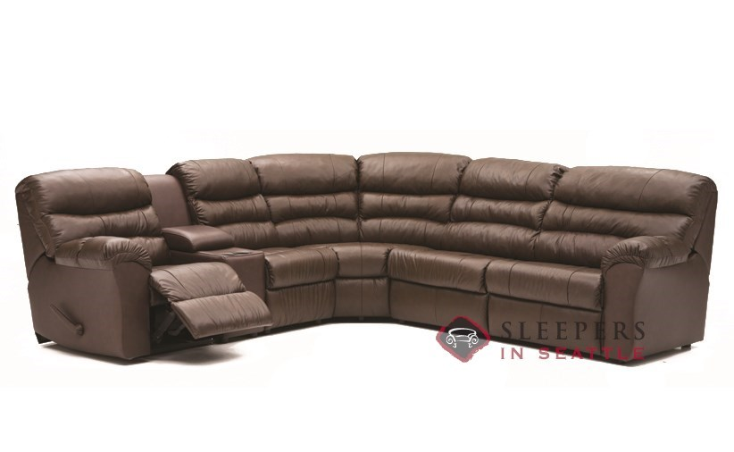 palliser durant large reclining true sectional leather sleeper with console