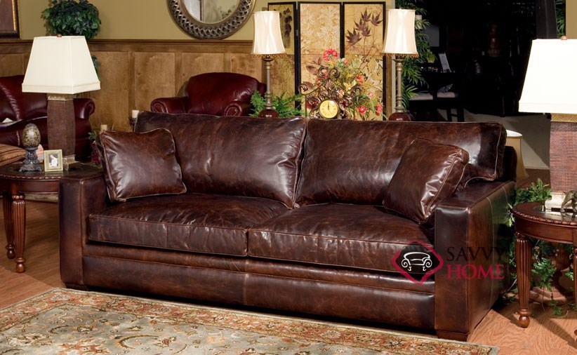 Houston leather queen by savvy is fully customizable by for Sectional sleeper sofa houston