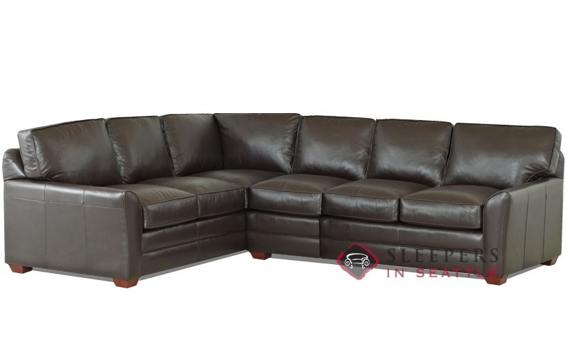 Gold Coast Leather True Sectional Sleeper shown in Outsider Chocolate