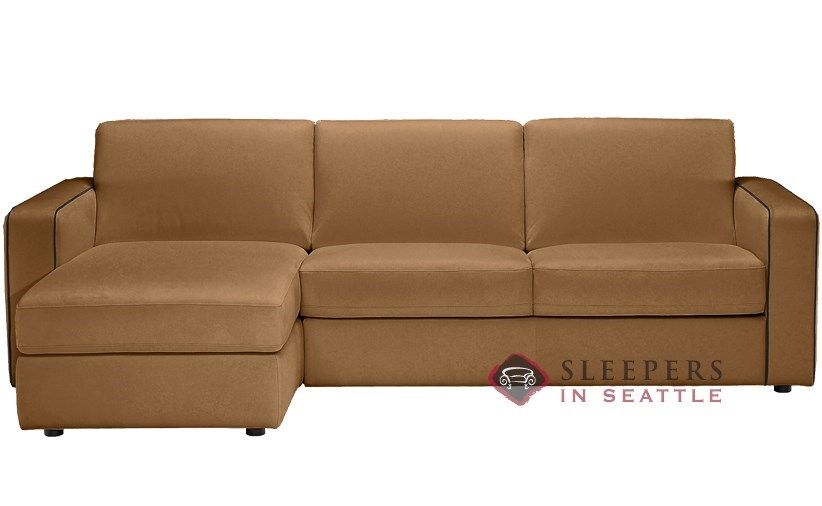 Natuzzi Editions B764 Chaise Sectional Leather Sleeper In Matera Sand Part 78