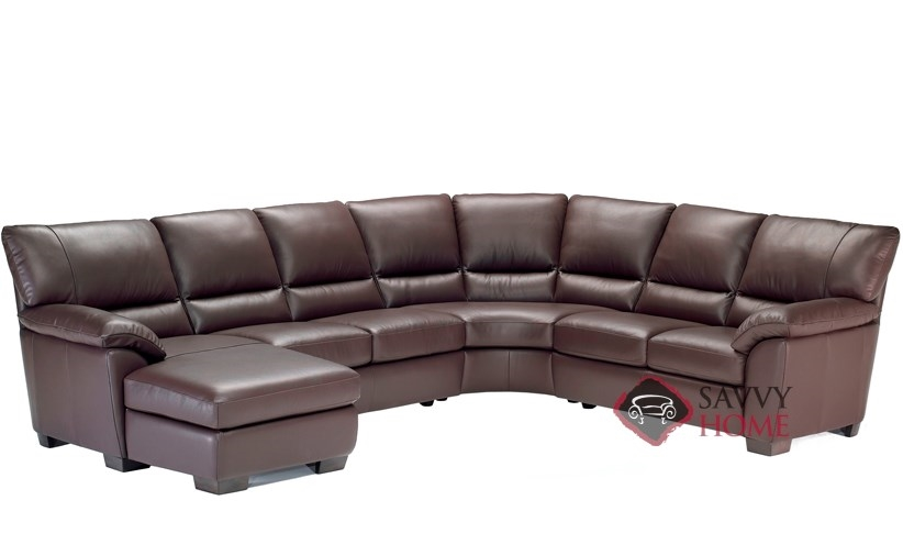 Trento b632 leather true sectional by natuzzi is fully for Angled chaise lounge sofa