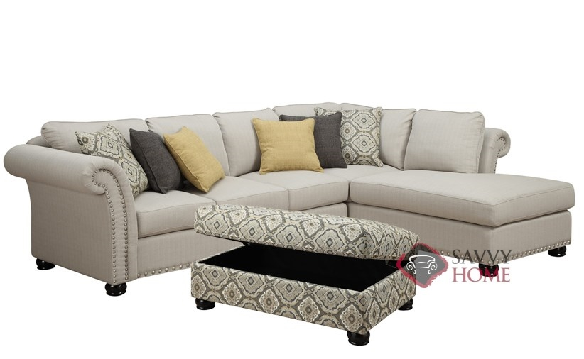 Paige Chaise Sectional with Accent Cocktail Ottoman by Emerald Home  Furnishings in LAF Confirguration. Emerald Home Furnishings Furniture   Furniture by Emerald Home