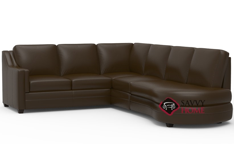 Corissa leather chaise sectional by palliser is fully for Angled chaise sofa