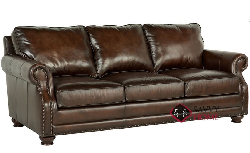 Princeton Leather Sofa With Down Blend Cushions By