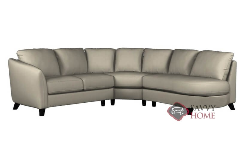 Alula leather chaise sectional by palliser is fully for Angled chaise sofa