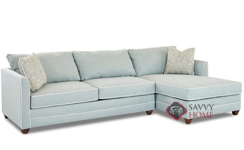 Valencia fabric chaise sectional by savvy is fully for Chaise interiors inc